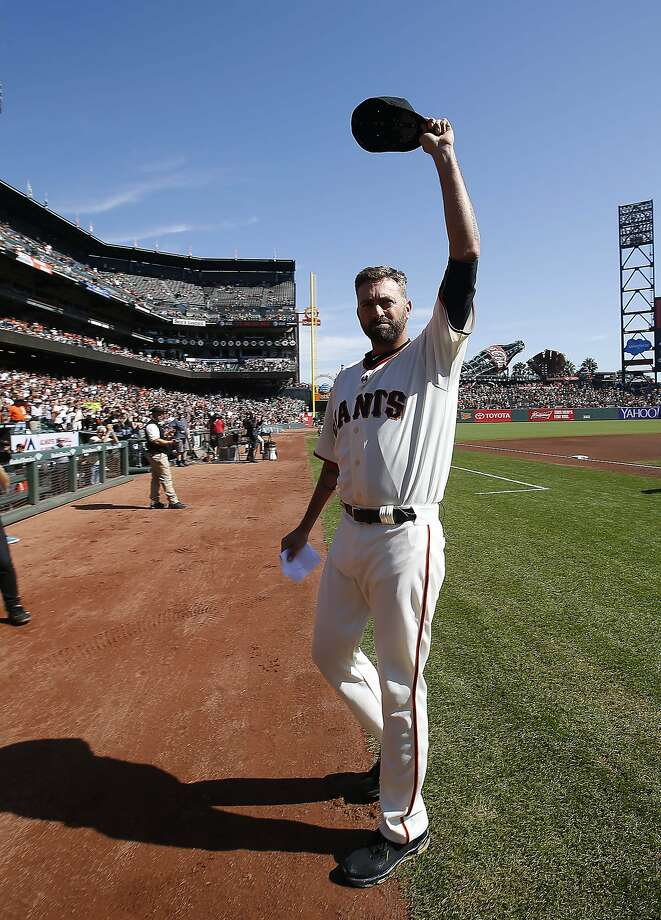 San Francisco Giants pitcher Jeremy Affeldt waves during a ceremony commemorating his career before a baseball game between the Giants and the Colorado Rockies, Sunday, Oct. 4, 2015, in San Francisco. (AP Photo/Tony Avelar) Photo: Tony Avelar, Associated Press