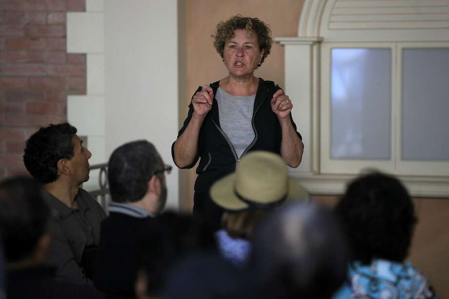 District 3 Supervisor Julie Christensen speaks at the beginning of a mobile workshop put on by the city's planning department in San Francisco, California, on Sunday, Oct. 4, 2015. Photo: Connor Radnovich, The Chronicle