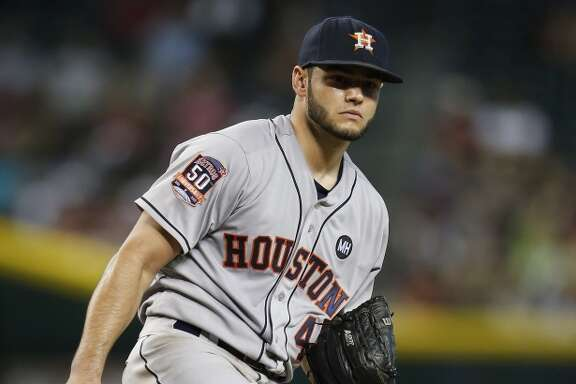 Houston Astros starting pitcher Lance McCullers (43) reacts after giving up a run during the fifth inning of an MLB game at Chase Field on Sunday, Oct. 4, 2015. ( Karen Warren / Houston Chronicle )