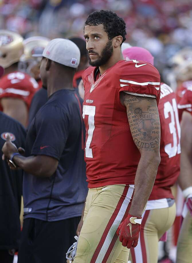 San Francisco 49ers quarterback Colin Kaepernick (7) stands on the sideline during the second half of an NFL football game against the Green Bay Packers in Santa Clara, Calif., Sunday, Oct. 4, 2015. The Packers won 17-3. (AP Photo/Ben Margot) Photo: Ben Margot, Associated Press