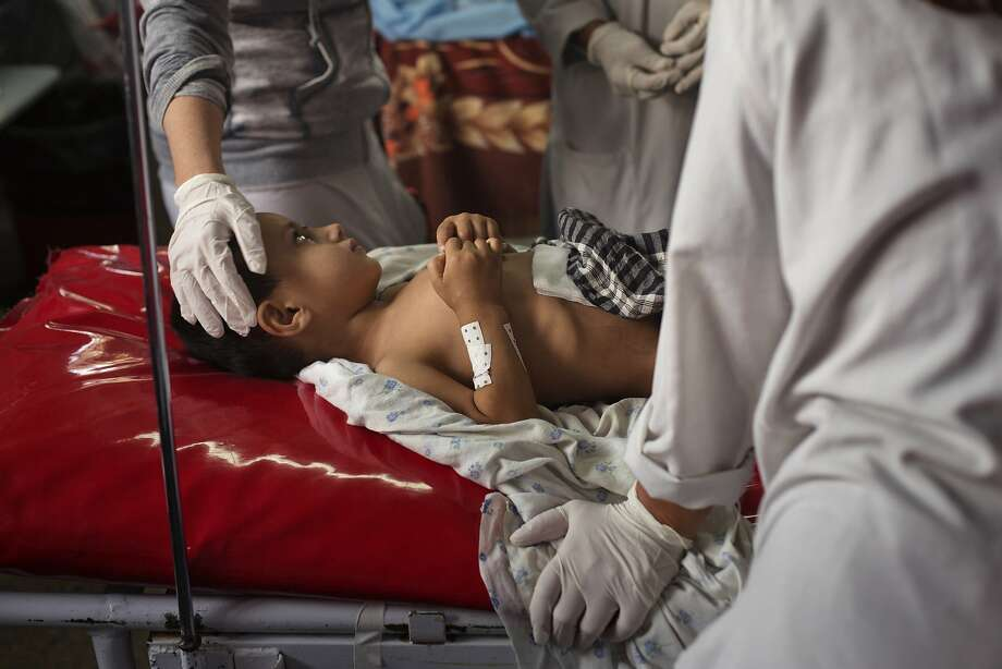 Wahidullah, 4, who was at the Doctors Without Borders hospital in Kunduz, is treated in Kabul. Photo: Victor J. Blue, New York Times