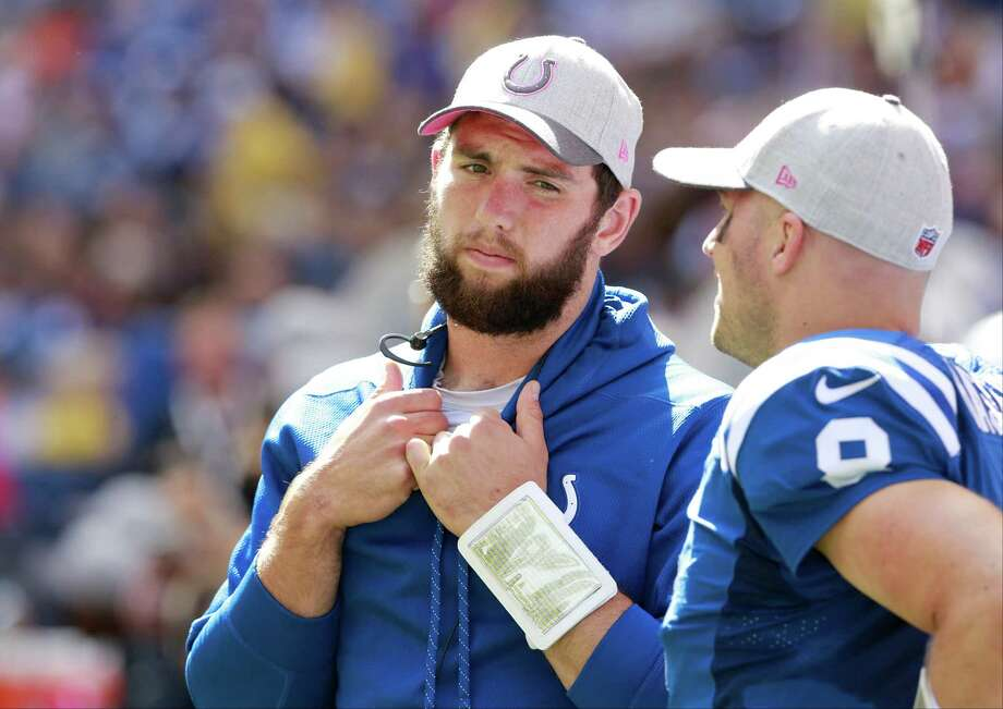 Andrew Luck's status for Thursday's game against the Texans is in question. He is nursing a sore shoulder. Photo: R Brent Smith, FRE / FR171017