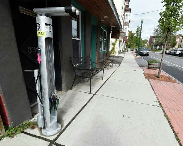The new Fixitstation for public repair of bicycles is now in service near 336 Congress Street Tuesday morning Sept. 29, 2015 in Troy, N.Y. (Skip Dickstein/Times Union) Photo: SKIP DICKSTEIN / 00033468A