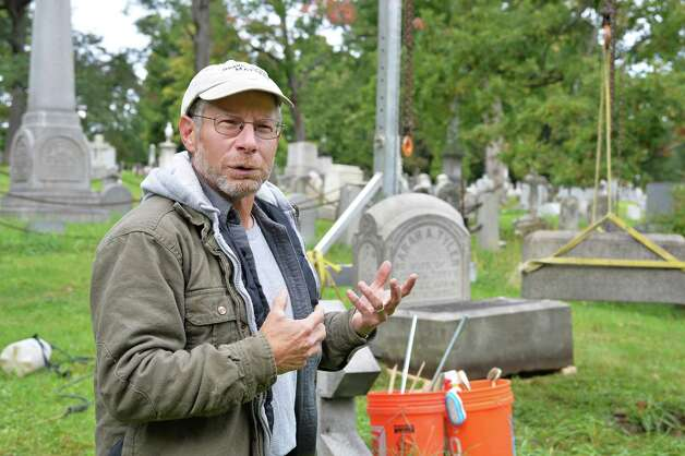 Joe Ferranninie, owner of Grave Stone Matters of Hoosick Falls, discusses his work at Albany Rural Cemetery Thursday Oct. 1, 2015 in Menands, NY.  (John Carl D'Annibale / Times Union) Photo: John Carl D'Annibale / 10033566A