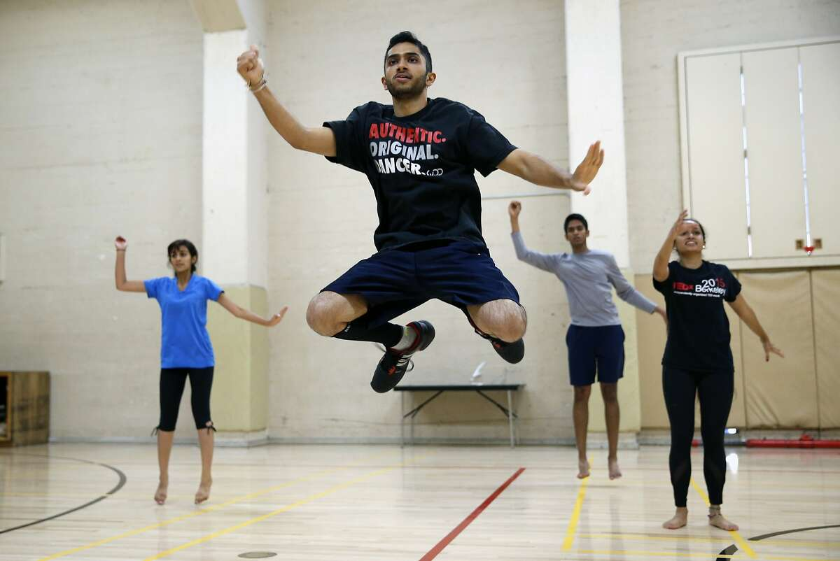 UC Berkeley student and captain of the Cal Bhangra Dance Team Adit Kothari (center) leads the team during practice in Berkeley, Calif., on Sunday, October 4, 2015.