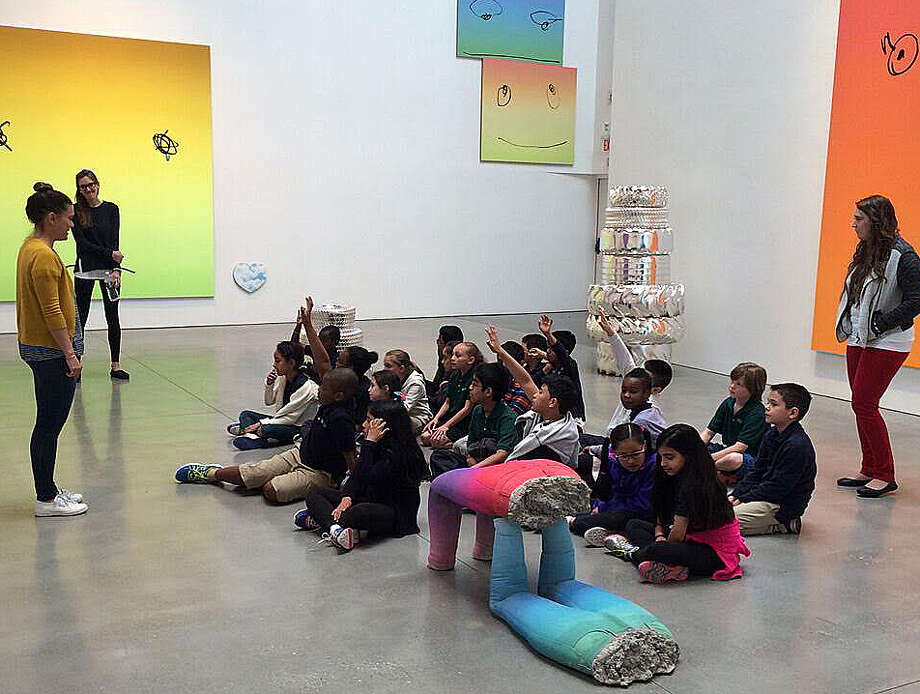 "In a Westport Arts Center-supported initiative, third-grade students from Side by Side Charter School in Norwalk discover art by Rob Pruitt at the Brant Foundation Study Center through the ""Connections"" program. Photo: Contributed / Contributed Photo / Westport News"