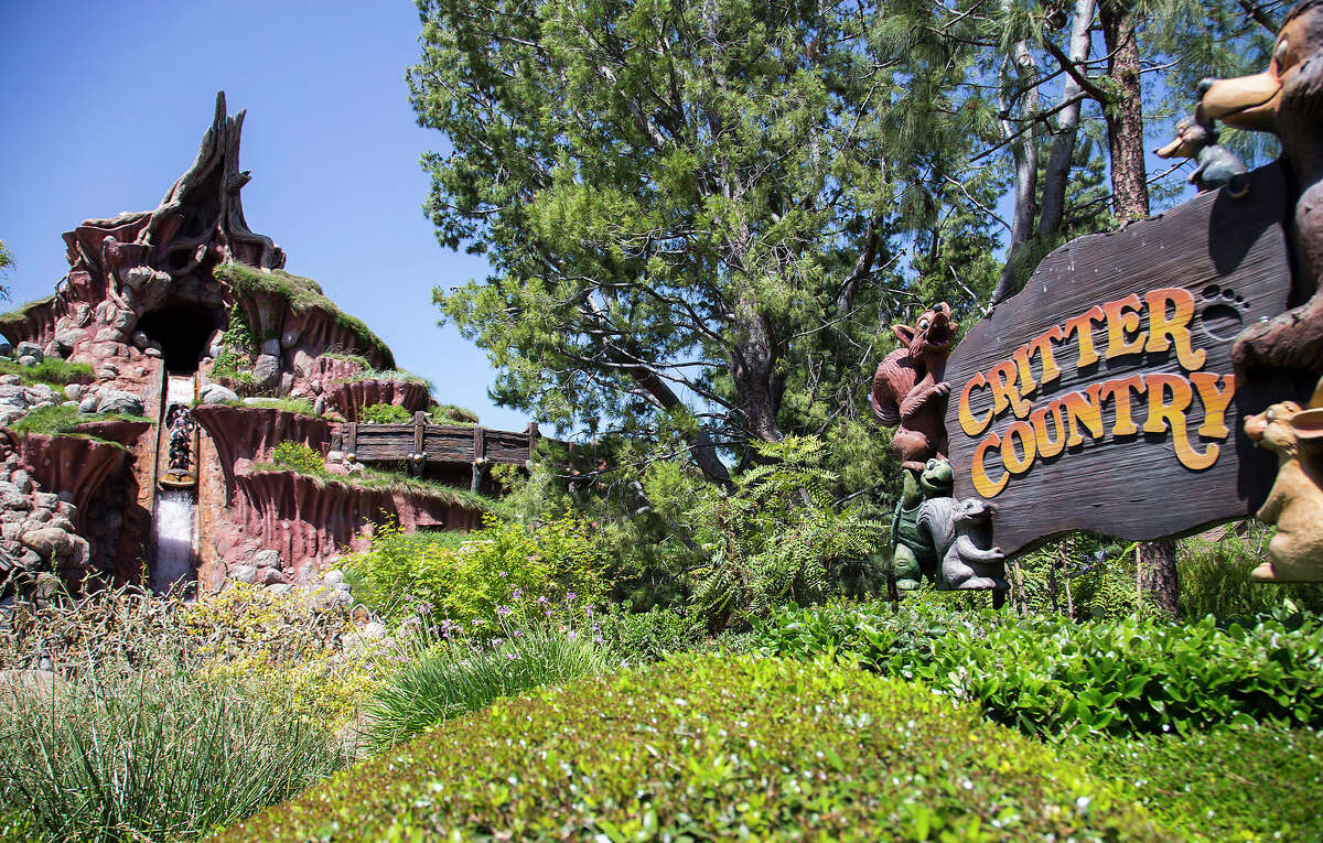 Guests hurtle down a five story drop at the Splash Mountain attraction, which can be found in Critter Country at Disneyland Park in Anaheim, Calif.