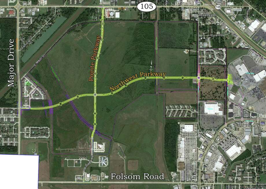 The city of Beaumont's new Northwest Parkway will link Major Drive with Old Dowlen Road and beyond to the Parkdale Mall loop road, taking traffic pressure off Dowlen Road, which carries up to 25,000 vehicles every day.  The new parkway also will connect to Pointe Parkway,which intersects with Folsom Road, west of Dowlen.  The new parkway also will open up several hundred acres of undeveloped land for commercial and residential construction when it is completed by late 2017.
