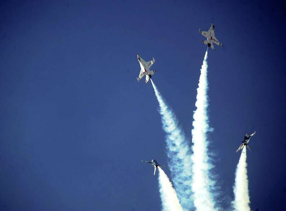The Thunderbirds perform their signature bomb-burst maneuver during AirFest 2010 at Lackland Air Force Base on Saturday, Nov. 6, 2010. BILLY CALZADA / gcalzada@express-news.net Photo: BILLY CALZADA, STAFF / SAN ANTONIO EXPRESS-NEWS / gcalzada@express-news.net