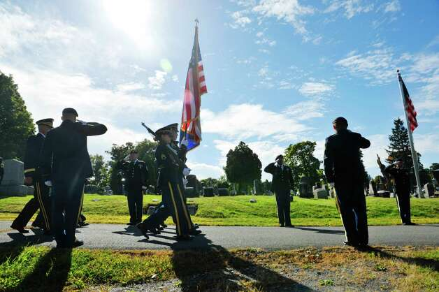 Members of the 53rd troop command of the New York Army National Guard from the Division of Military and Naval Affairs in Latham, march in at the start of a Presidential wreath laying ceremony at the gravesite of President Chester Arthur on Monday, Oct, 5, 2015, at the Albany Rural Cemetery in Menands, N.Y.  The event was held to honor President Arthur on his birthday.  (Paul Buckowski / Times Union) Photo: PAUL BUCKOWSKI / 10033591A