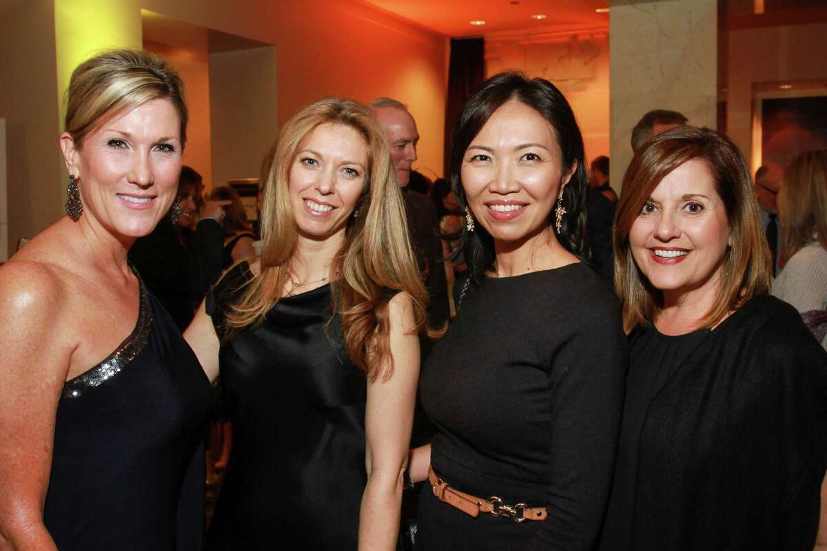 Seliece Womble, from left, Claire Radwanski, Amy Chua and Shelley Nelson at the Medical Bridges gala. (For the Chronicle/Gary Fountain, October 3, 2015)