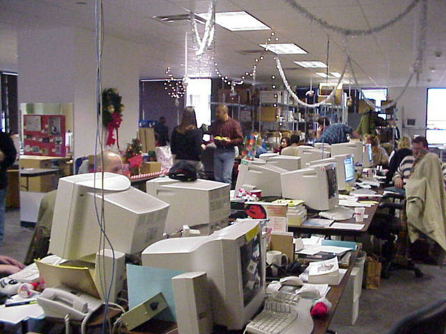 Photo of Rackspace 'support department,' Christmas, 1999. Photo: Courtesy