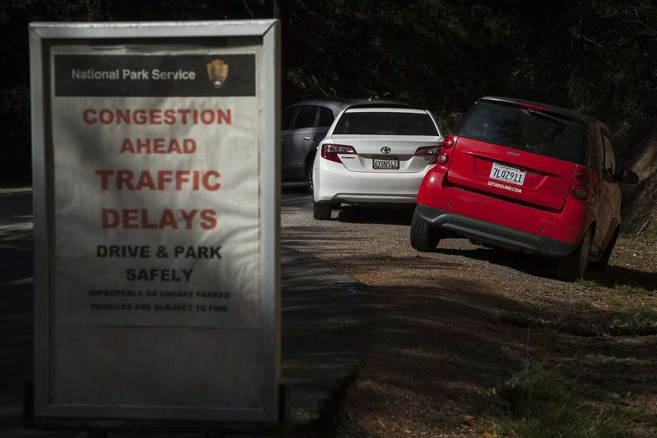 Cars parked near the Muir Woods National Monument, Sunday, Oct. 4, 2015, in San Francisco, Calif. Marin County is considering parking restrictions on Muir Woods Road after visitors continue to park along roads as a resort to limited parking slots. Photo: Santiago Mejia, Special To The Chronicle