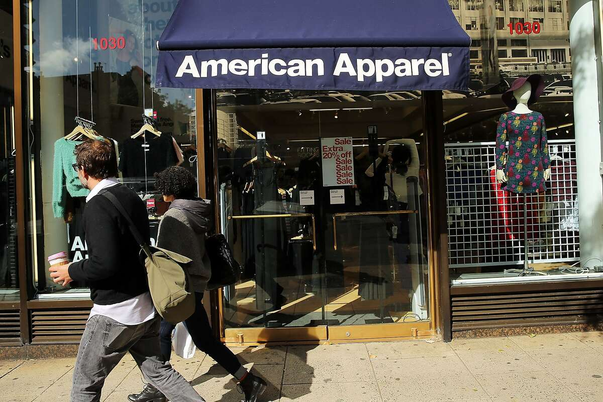 NEW YORK, NY - OCTOBER 05: The American Apparel logo is displayed outside of a store on October 5, 2015 in New York City. American Apparel has filed for Chapter 11 bankruptcy protection nearly a year after the ousting of founder and CEO Dov Charney. In its latest quarter, the youth driven clothing company reported a loss of $19.4 million. (Photo by Spencer Platt/Getty Images)