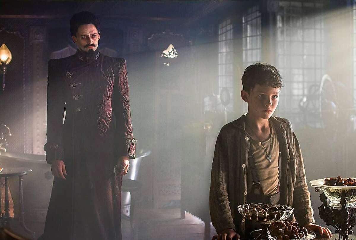 "Hugh Jackman and Levi Miller in ""Pan."" (Laurie Sparham/Warner Bros. Entertainment)"
