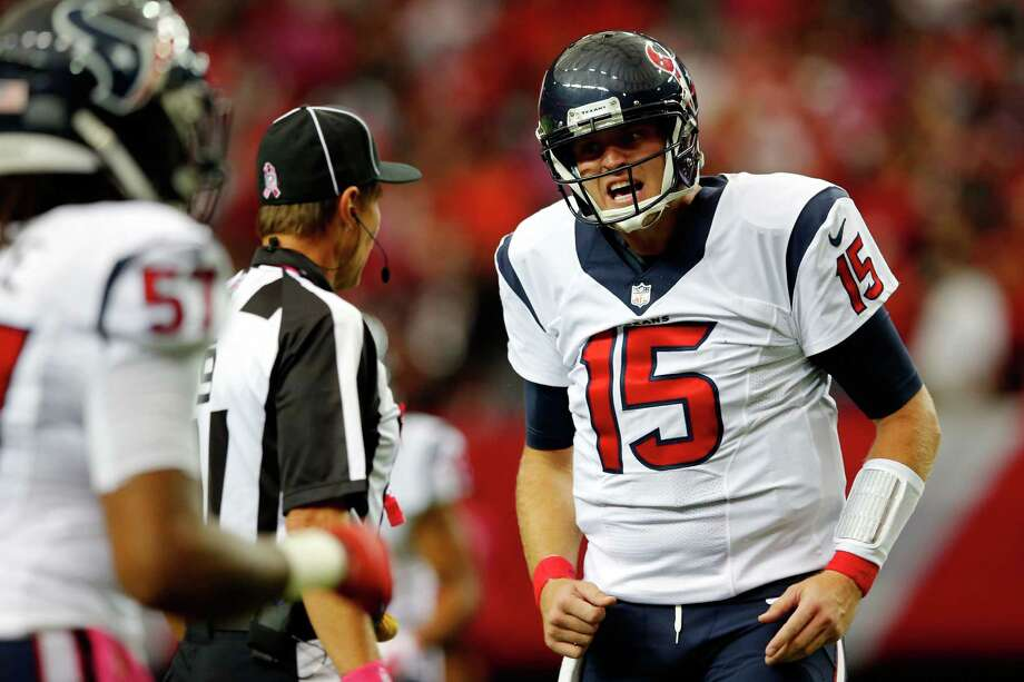 Ryan Mallett of the Houston Texans pleads with the referee in the first half against the Atlanta Falcons at the Georgia Dome on October 4, 2015 in Atlanta, Georgia. Photo: Kevin C. Cox /Getty Images / 2015 Getty Images