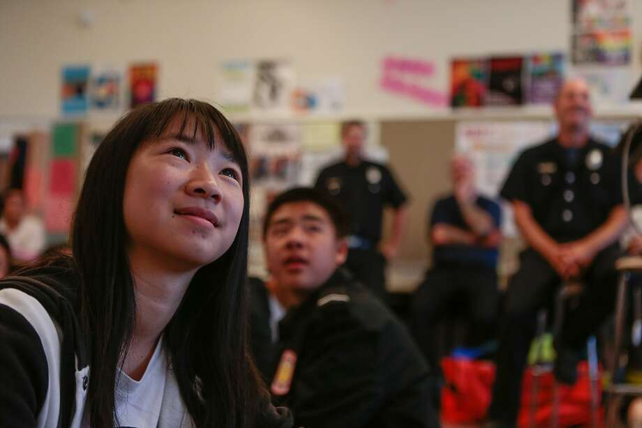 Yumei Zhao from Ali Mayer's 9-12 grade Health Education class at Abraham Lincoln High School listen to a lecture about Hands Only CPR on Monday, Oct. 5, 2015 in San Francisco, Calif. Photo: Nathaniel Y. Downes, The Chronicle