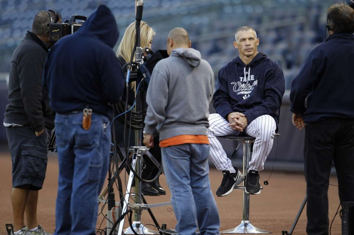 Yankees manager Joe Girardi is filmed during Astros batting practice at Yankee Stadium on Monday, Oct. 5, 2015, as they prepare for Tuesday's American League Wild Card game in New York. ( Karen Warren / Houston Chronicle )
