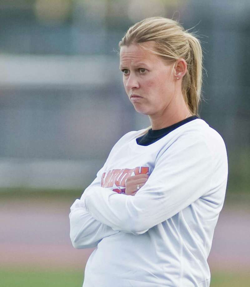 Danbury High School girls soccer head coach Jessica Halas during a game against Wilton High School, played at Danbury. Monday, Oct. 5, 2015 Photo: Scott Mullin / For The / The News-Times Freelance