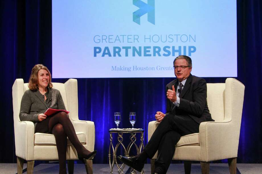 Amy Myers Jaffe, UC Davis expert on global energy policy, sustainability and geopolitical risk, interviewing John S. Watson, president and CEO, Chevron Corporation at the Greater Houston Partnership's State of Energy luncheon. (For the Chronicle/Gary Fountain, October 3, 2015) Photo: Gary Fountain, For The Chronicle / Copyright 2015 Gary Fountain
