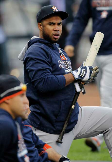 Luis Valbuena waits for his turn in the batting cage Monday, preparing for a likely start at third base. Photo: Karen Warren, Staff / © 2015 Houston Chronicle