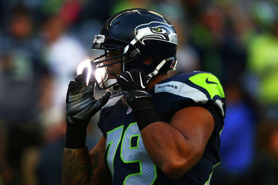 Seahawks tackle Garry Gilliam appears to be the front-runner to fill Russell Okung's vacated left tackle spot in 2016. Photo: GENNA MARTIN, SEATTLEPI.COM / SEATTLEPI.COM
