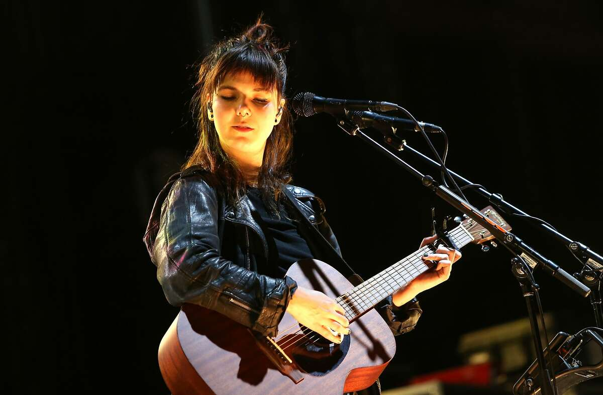 BOSTON, MA - SEPTEMBER 25: Nanna Bryndis Hilmarsdottir of Of Monsters and Men performs onstage during day one of the Boston Calling Music Festival at Boston City Hall Plaza on September 25, 2015 in Boston, Massachusetts. (Photo by Mike Lawrie/Getty Images)