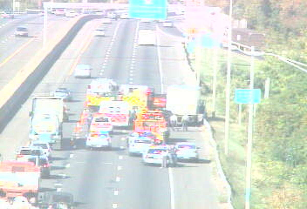 Only one lane of traffis is open on I-95 southbound in Stratford because of an accident involving a truck on Tuesday, Oct. 6, 2015.