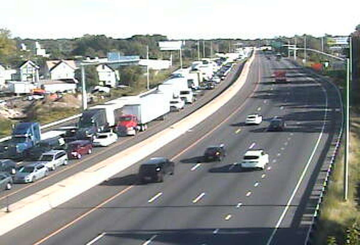Southbound traffic on I-95 in Stratford is backed up following an accident on Tuesday, Oct. 6, 2015.
