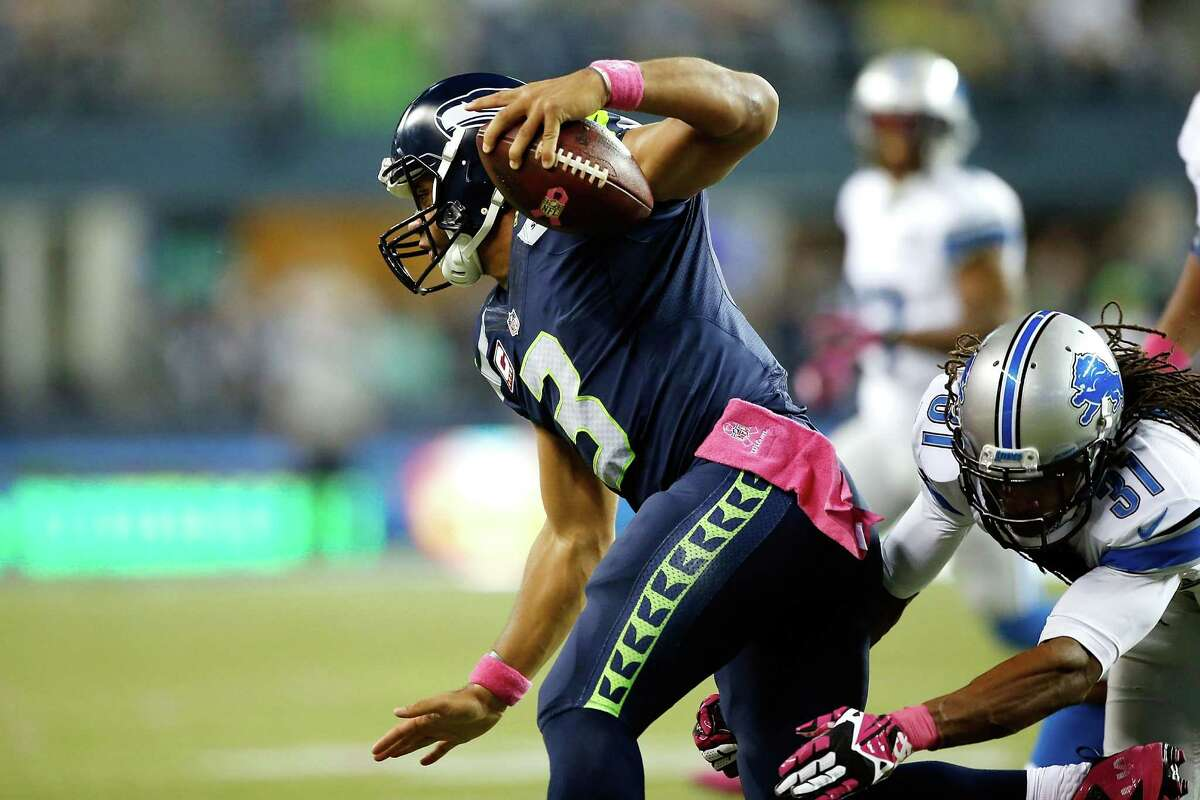 Quarterback: Yes, Russell Wilson may have had two costly fumbles, and he may have missed open receivers a few times throughout the game. But those struggles can (and should) be largely attributed to the offensive line's struggles. Wilson completed nearly 77 percent of his 26 pass attempts and made a couple of plays that seemingly only he could make with his trademark magic mobility. Grade: B+
