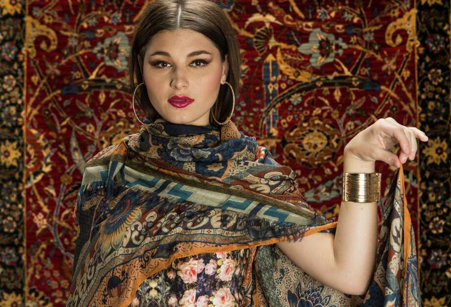 Etro scarf/wrap, $525, Neiman Marcus; Janie Bryant for Black Halo dress, $390, Saks Fifth Avenue; Natasha hoops, $28, Jessica Simpson cuff, $48, both Dillard's North Star Mall. Carpet courtesy O'Krent's Abbey Flooring Center. Photo: William Luther /San Antonio Express-News / © 2015 San Antonio Express-News