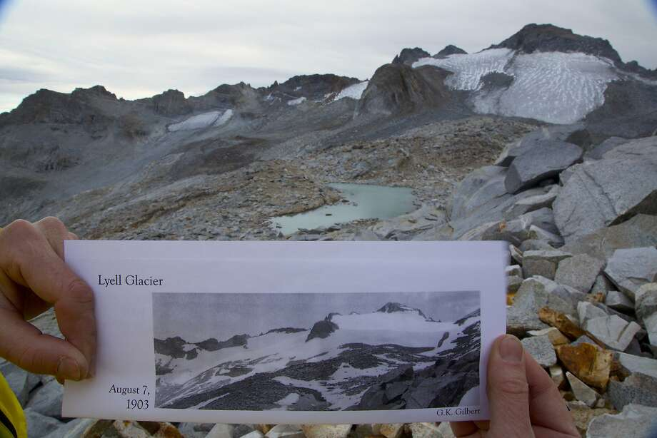 Photo of Lyell Glacier from 1903 seen at the glacier in Yosemite National Park's high country. Since John Muir measured the glacier in 1872, it has lost 90 percent of its volume and 80 percent of its surface area. It could be gone in five years. Photo: Josh Helling, Special To The Chronicle