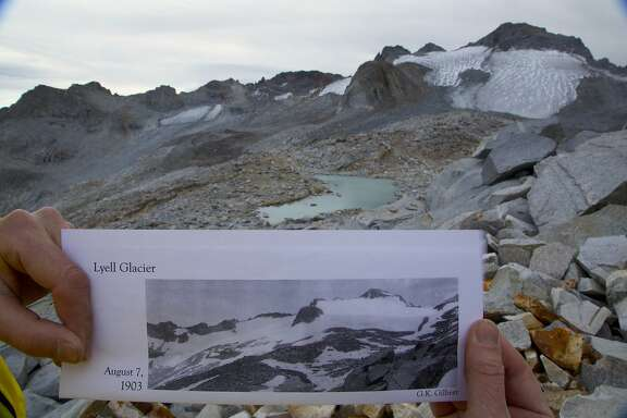 Photo of Lyell Glacier from 1903 on site at Lyell Glacier last week in high country of Yosemite National Park. Since measured by John Muir in 1872, the glacier has lost 90 percent of its volume and 80 percent of its surface area, and at present rate, is projected to melt off in the next five years.
