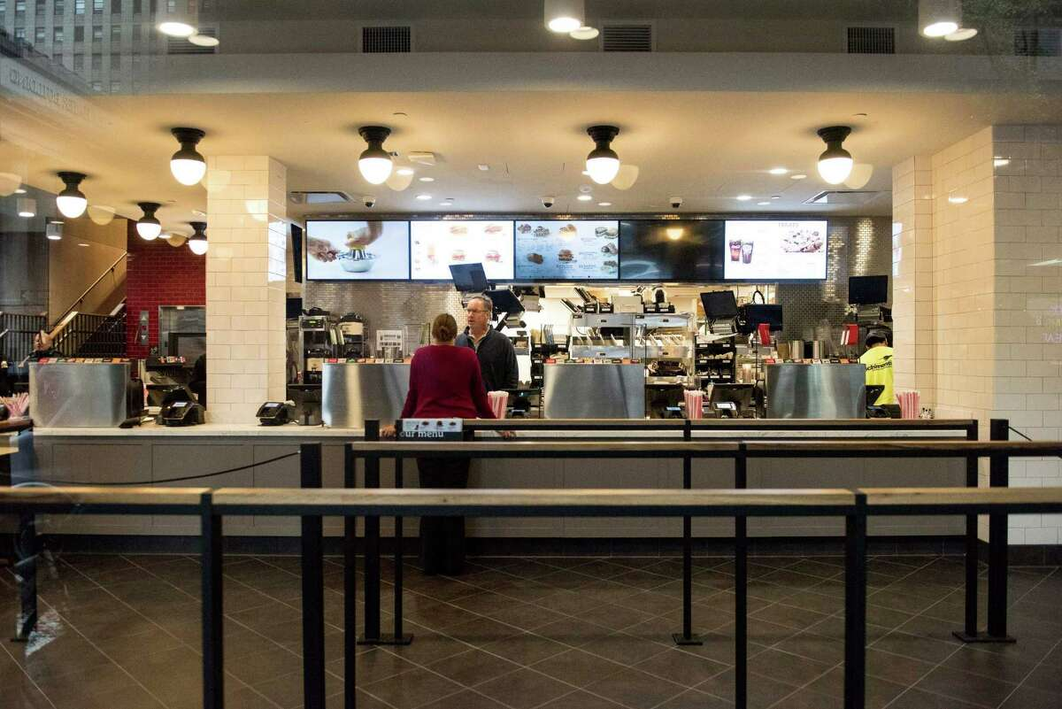 NEW YORK, NY - OCTOBER 2: The interior of Chick-Fil-A, a day before its opening, on 37th Street and 6th Avenue, on October 2, 2015 in New York City.. The fast food chicken restaurant is set to open its first store in Manhattan.