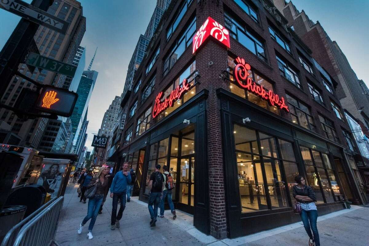 Hundreds came to the new Chick-fil-A location in Manhattan over the weekend.
