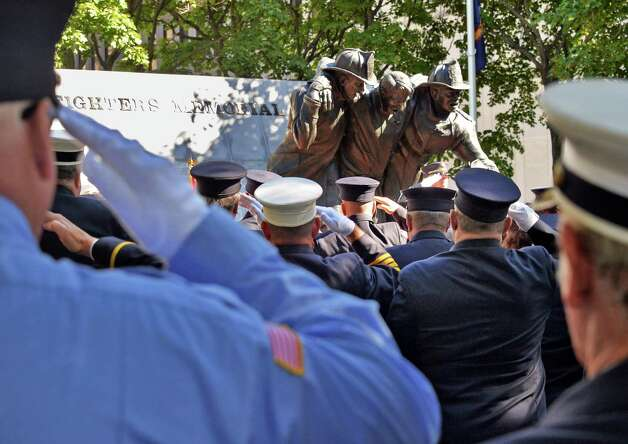 New York State Firefighters Memorial ceremony honors eight fallen firefighters at the Empire State Plaza Tuesday Oct. 6, 2015 in Albany, NY.  (John Carl D'Annibale / Times Union) Photo: John Carl D'Annibale / 10033635A