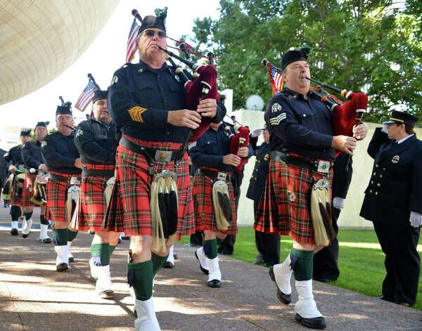 Westchester Co. Firefighter Pipes And Drums during the New York State Firefighters Memorial ceremony honoring eight fallen firefighters at the Empire State Plaza Tuesday Oct. 6, 2015 in Albany, NY.  (John Carl D'Annibale / Times Union) Photo: John Carl D'Annibale / 10033635A
