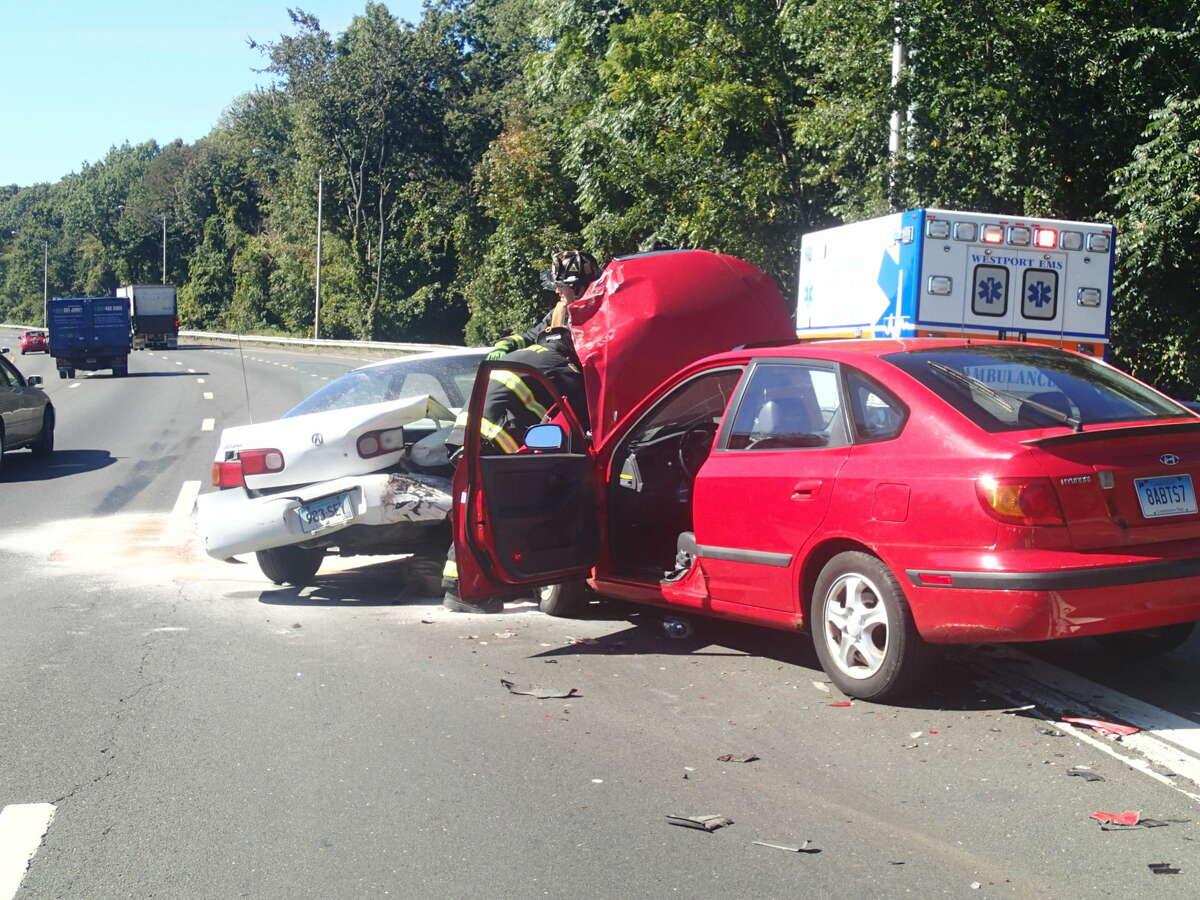 This two-vehicle crash on southbound I-95 in Westport shut down two lanes for about an hour on Tuesday, Oct. 6, 2015.