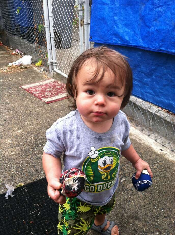 Drue Lehto, shown about the end of July, was killed Sept. 27 at 17 months old in his West Seattle home. His father's girlfriend, Alicia Goemaat, is charged with his murder. Photo: Courtesy Maria And Allen Blanco