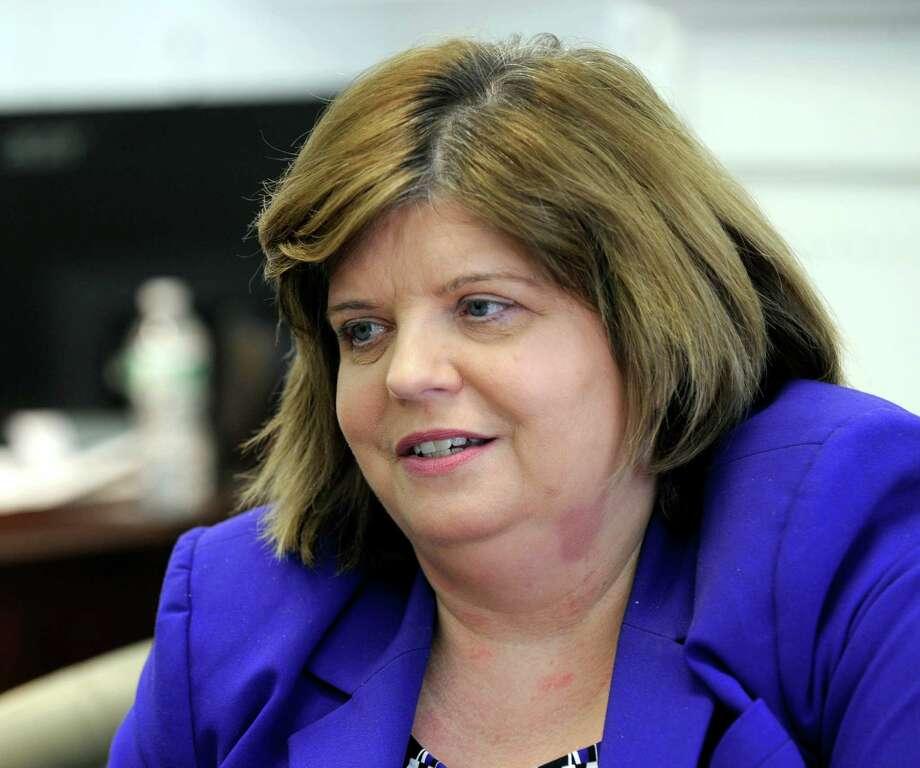 Kathleen Romagnano, president and CEO of the Savings Bank of Danbury on Main Street in Danbury. Photo: Carol Kaliff / Carol Kaliff / The News-Times