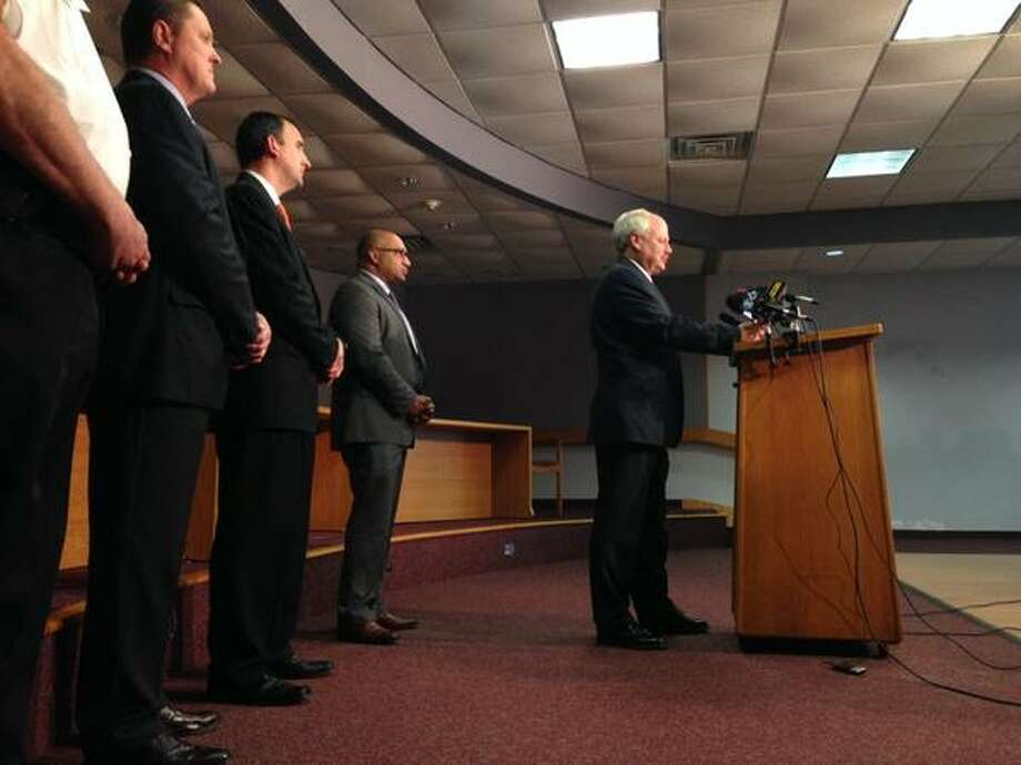 State Police, Guilderland police and the Albany County District Attorney's Office hold a press event on the homicides that killed a family of four on Oct. 8, 2014, in Guilderland, NY. (Paul Buckowski/Times Union)