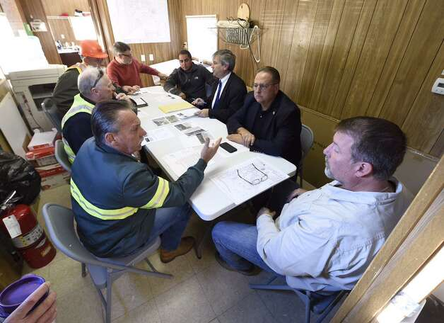 The East Greenbush town board meets at the town's sewer treatment plant on Tuesday to discuss flaws in the system. (Skip Dickstein / Times Union)