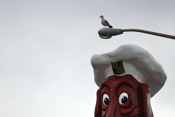 The Doggie Diner Head sits at the intersection of Sloat Blvd. and 45th Avenue, a few blocks from the ocean, in San Francisco, Calif. on Feb. 15 2014.