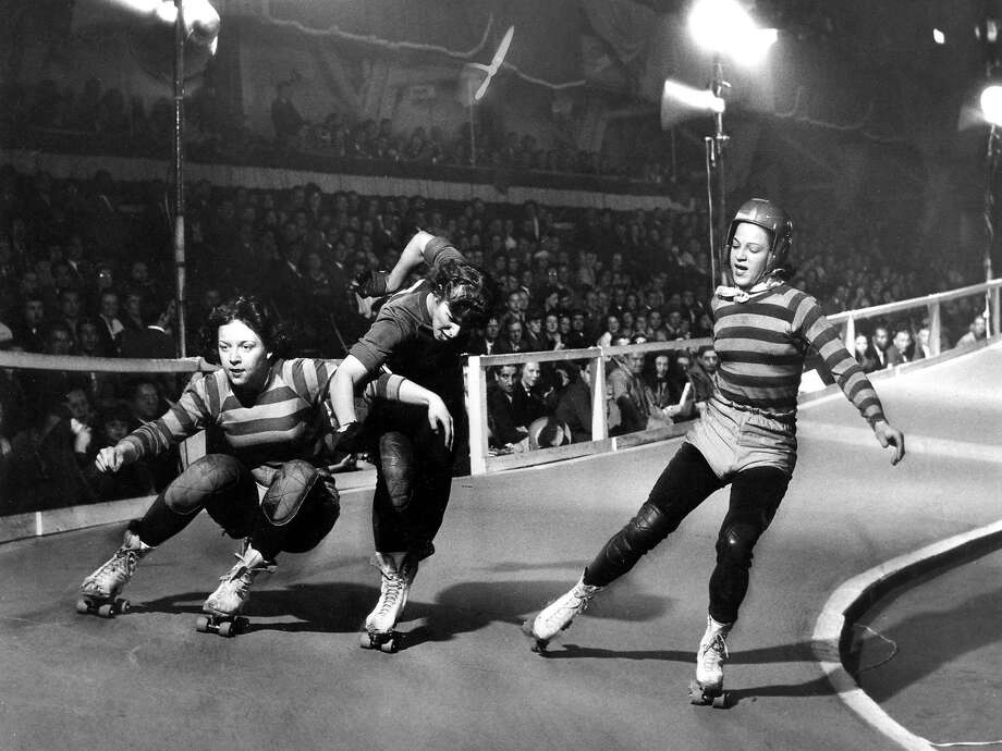 Roller Derby at the Cow Palace. Likely from the late 1940s or 1950s. Photo: Chronicle File