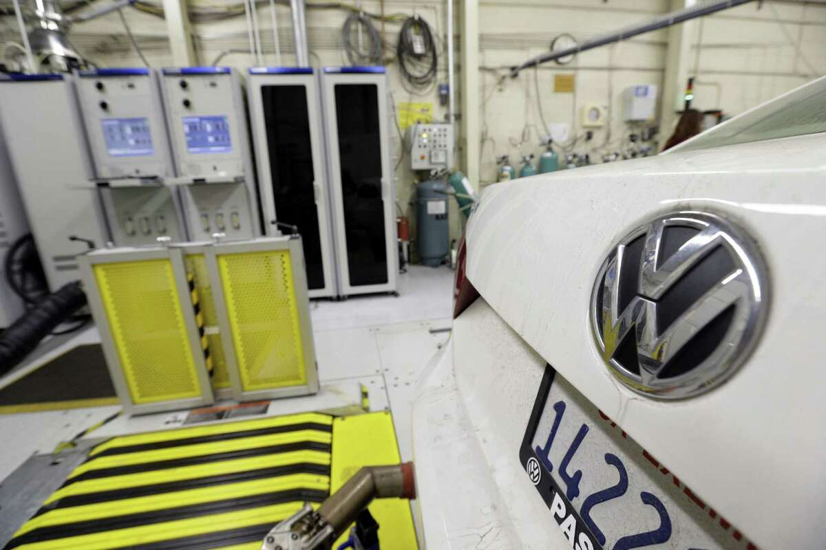 A 2013 Volkswagen Passat with a diesel engine's emissions are evaluated at a California facility.