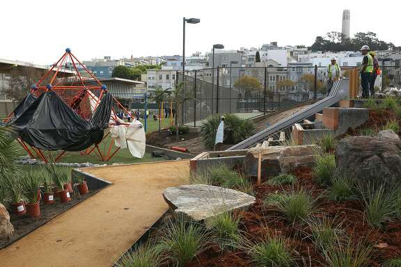 A view of the Joe DiMaggio Playground in San Francisco, Calif., under construction on Tuesday, October 6, 2015.