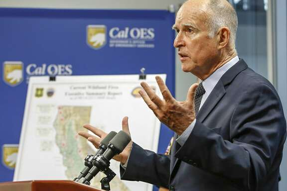 "FILE - In this Sept. 14, 2015, file photo, Calif. Gov. Jerry Brown discuss the state's wildfire situation at the Governor's Office of Emergency Services news conference in Rancho Cordova, Calif. Gov. Brown signed legislation, Monday, Oct. 5, 2015, allowing terminally ill people in the nation's most populous state to take their lives, saying the emotionally charged bill forced him to consider ""what I would want in the face of my own death."" Brown, a lifelong Catholic and former Jesuit seminarian, said he acted after discussing the issue with many people, including a Catholic bishop and two of his doctors. (AP Photo/Rich Pedroncelli, file)"
