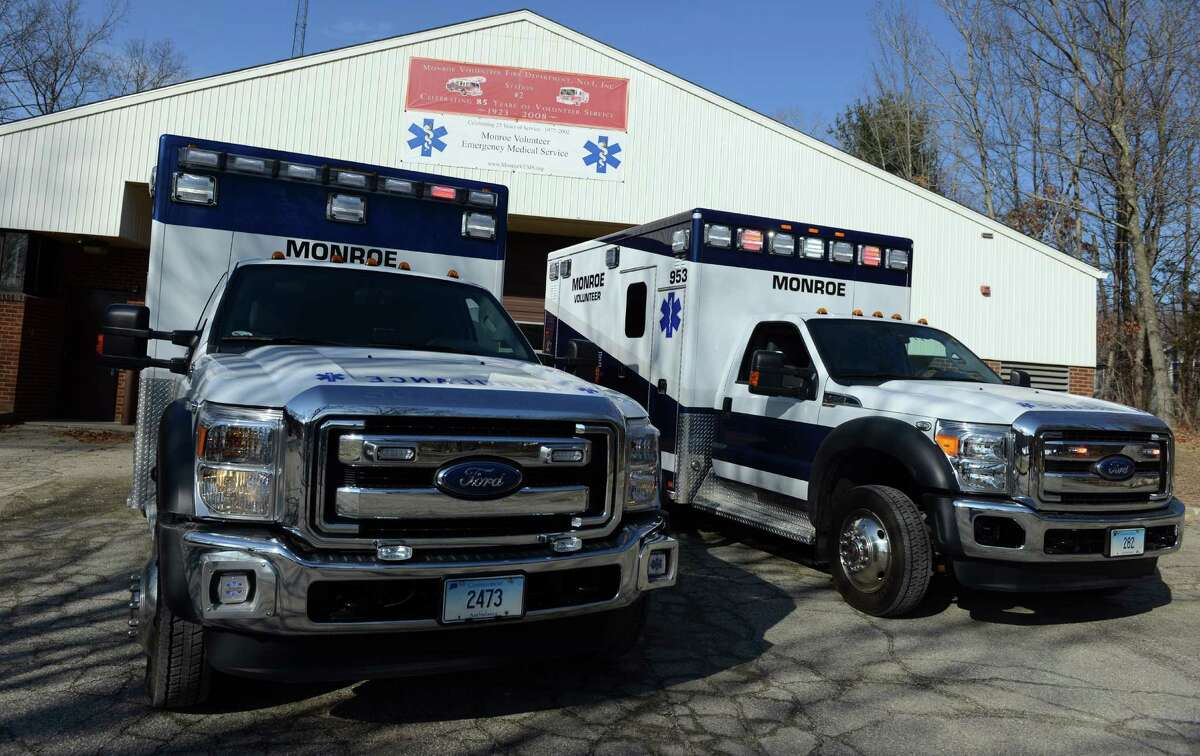 Monroe's two ambulances sit outside the Monroe Volunteer Fire Department's Jockey Hollow Fire Station.