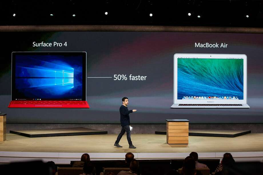Microsoft Corporate Vice President Panos Panay introduces a new tablet titled the Microsoft Surface Pro 4 at a media event for new Microsoft products on October 6, 2015 in New York City. Microsoft also unveiled a virtual reality head set titled the HoloLens, a phone titled the Lumia 950, a laptop titled the Surface Book and a biometrics wristband titled the Band 2.  Photo: Andrew Burton, Getty Images