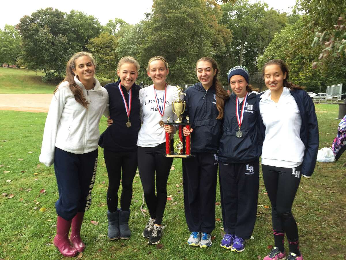 Lauralton Hall Varsity Cross Country runners (left to right: Presley Elleston (Junior, Fairfield), Abby Baisley (Freshman, Fairfield), Margaret Telling (Sophomore, Fairfield), Lily Reed (Senior, Stratford), Hannah Haynes (Junior, Wilton), and Cristina Ludwig (Freshman, Milford). Missing: Sarah Vaccarelli (Junior, Waterbury).